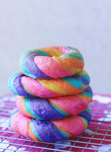 rainbow bagel stack